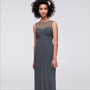 Pewter grey goddess bridesmaid gown